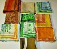 Mixed Lot of 10 All Vera Neumann Scarves Vintage Ladybug Logo Silk Polyester