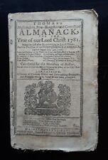 Isaiah Thomas Thomas's Almanack 1781 Worcester MA