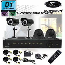 SUMVISION 8 CANALI ch sistema di sicurezza CCTV DVR Kit con 4 telecamere 500GB HDD