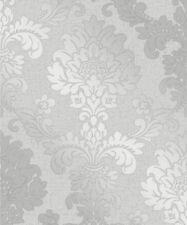 Fine Decor Quartz Pure Metallic Glitter Damask Wallpaper Soft Grey Silver 41965