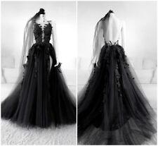 Black Wedding Dresses Vintage Sheer Neck Open Back Handmade Flowers Bridal Gowns