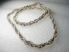 "Vintage Textured Silvertone Triple Link 22"" necklace - slides over - no clasp"