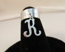 14Kt White Gold Ep Dangle Initial K Toe Ring In A Hammered Ring