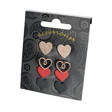 Ladies Fashion Jewellery Stud Earrings 4 x Heart Studs Stud Earring