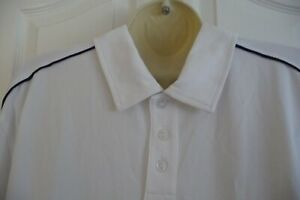 SIZE LARGE - RAWLINGS WHITE/NAVY TRIMS SHORT-SLEEVE POLO SHIRT £30 new with tags
