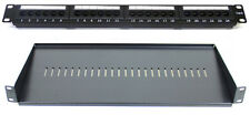"Cat6 24 Port Patch Panel + 200MM Rack Mount Shelf 1U 19"" Network Comms Cabinet"