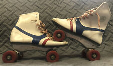 Vintage 1970s Fireball Official Roller Derby Skates White/Blue/Red Womens size 4