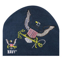 Embroidered US Navy Military Blue Logo Eagle USN Beanie Stocking Cap Skully Hat