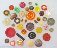 Antique Vintage Buttons Collection Mixed Materials Colors Patterns & Sizes