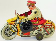 1930'S MARX ROOKIE COP SIREN MOTORCYCLE TIN LITHOGRAPHED WIND UP TOY 8 1/4""