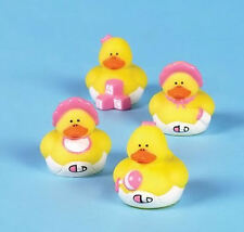 12 Baby Girl Shower Rubber ducks Pink Duckies FAVORS Cake Toppers