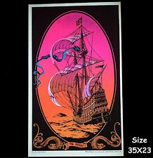"1972 VINTAGE VELVET BLACKLIGHT POSTER BEAUTIFUL SHIP SAILBOAT ""THE VOYAGE"" 17X11"