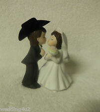 Wedding Party Kissing ~Cowboy~ Black Hat Western Cake Topper ~Both Dark Hair~