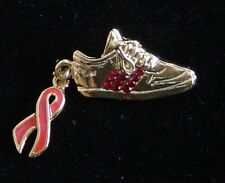AIDS  Awareness-Ruby crystal/red stripe sneaker gold