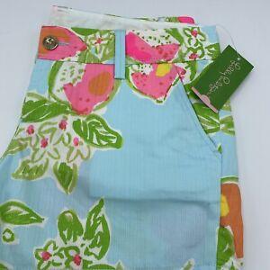 NWT Lilly Pulitzer Callahan Shorts In Pool Blue Pink Lemonade Size 10