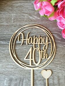 Happy 40th Cake Topper MADE IN AUSTRALIA 40 birthday party decorations