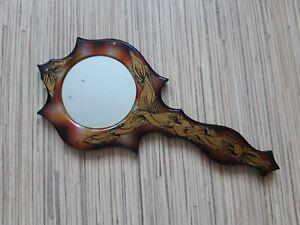 Vintage handmade hand mirror made in Soviet prison, prison creativity