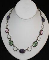 "Napier Vtg Necklace Jewelry Silver Tone Glass Beads 181/2"""
