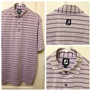 FootJoy FJ Mens Medium Golf Polo Shirt Purple White Striped Short Sleeve