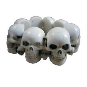 New Kreepsville 666 White Skull Bracelet Punk Tattoo Psychobilly Gothic Zombie