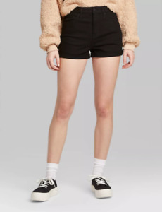 NWT Wild Fable Women's High-Rise Rolled Cuff Jean Denim Shorts Black Select Size