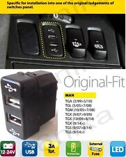 MAN IN DASH DASHBOARD PANEL DUAL USB PORT CHARGER POWER OUTLET MAN TRUCK LORRY