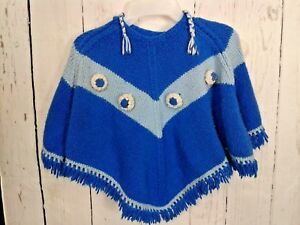 Vintage Handmade Childs Poncho Knit Flowers Fringe Hooded Size Small