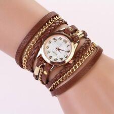 New Womens Stainless Steel Leather Strap Braided Bracelet Quartz Wrist Watch