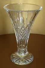 "Waterford Crystal Large 10"" Cut Glass Flared Lismore Statement Vase Signed"