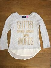 * childrens place gray glitter knit chiffon top shirt medium 7 - 8 girls