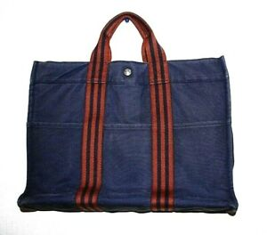 Auth HERMES FOURRE MM Hand Tote Bag Navy Brown Black Cotton France