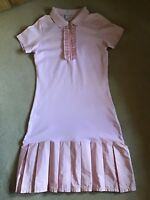 MONCLER..GIRLS PINK POLO DRESS WITH TAFFETA PLEATED TRIMS..AGE 12 100% authentic
