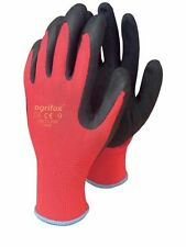 1,12 or 24  RUBBER NYLON RED BUILDERS GARDEN WORK LATEX GLOVES
