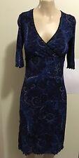 "pre-loved ""Miss Shop"" paisley pattern dark/electric blue 3/4 sleeve dress XS"