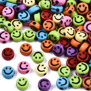Pack of 100 Opaque Mixed Colour 7mm Round Smiley Face Beads