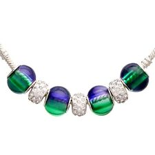 Bleek2sheek Green and Purple Color Change Gradient Rhinestone & Glass Charm Bead