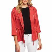CECE NEW Women's Desert Coral Shimmer Satin Hooded Anorak Jacket Top M TEDO