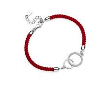 Srebrna bransoletka z czerwonym sznurkiem - kółka z cyrkoniami