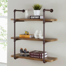 Rustic Industrial Pipe Floating Wall Shelf 3-Tiered Shelves Display, Ez Assembly
