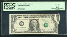 "FR. 1910-B 1977-A $1 FRN ""GUTTER FOLDS ON FACE & BACK ERROR"" PCGS VERY FINE-35"