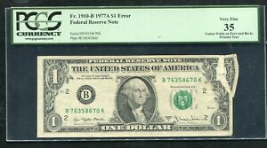 "FR. 1910-B 1977-A $1 FRN ""GUTTER FOLDS ON FACE & BACK ERROR"" PCGS VERY FINE-35"