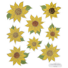 2 Sheets Gold Foil Sunflower Flower Planner Stickers Papercraft Envelope Seals
