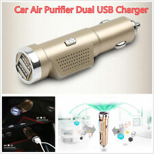 Auto Fresh Air Ionic Purifier Oxygen Ozone Ionizer Cleaner Car Charger Dual USB
