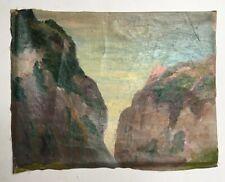 Tableau ancien, Huile sur toile, Falaises, Côte rocheuse, Bretagne? Début XXe