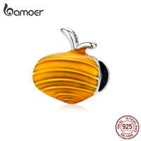 BAMOER 925 sterling silver Lovely carrots Enamel Charm Bead Fit Bracelet Jewelry
