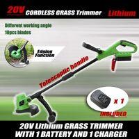 20V Lithium Grass Trimmer Lawn Grass Edge Brush Cutter w/ Blade & Wheels