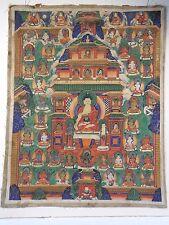 drwr ANTIQUE TIBETAN MONGOLIAN THANGKA Sakyamuni Buddha, protectors & deities