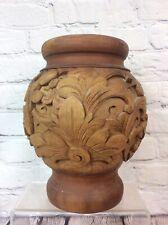 More details for antique / vintage heavily carved wooden vase  / urn 25cm high, free uk delivery