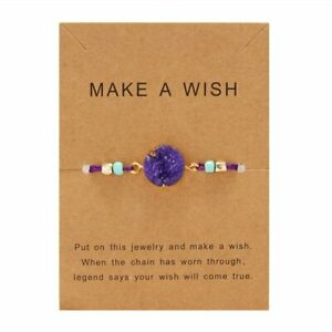 Natural Stone Purple Crystal Circle Charms Bracelet Card Bangle Party Women Gift