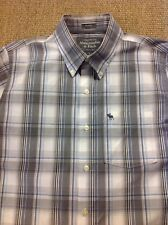 men's ABERCROMBIE & FITCH Large, Muscle, Grey Check Long Sleeve Shirt. Superb
